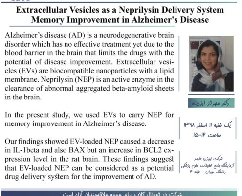 Extracellular Vesicles as a Neprilysin Delivery System Memory Improvement in Alzheimer's Disease ارائه دهنده : دکتر مهرناز ایزدپناه